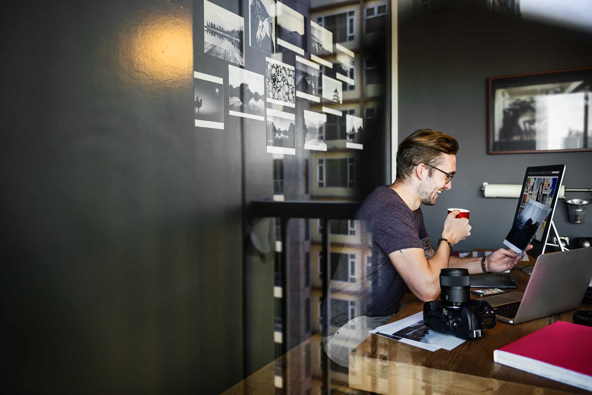 Photographer Reviewing Work